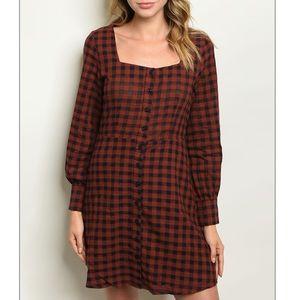 Rust + navy plaid tunic dress